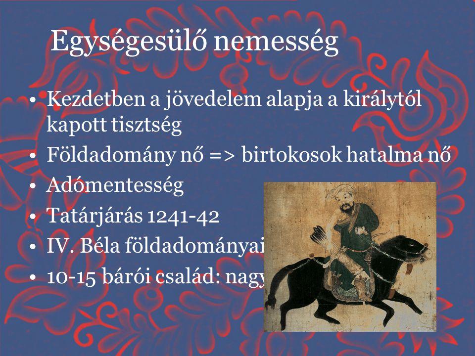 •Kezdetben a jövedelem alapja a királytól kapott tisztség •Földadomány nő => birtokosok hatalma nő •Adómentesség •Tatárjárás 1241-42 •IV. Béla földado