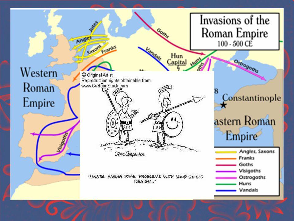 Nyugat-Európa, a fejlődés kerete •395. a Római Birodalom felbomlása •476. a Nyugat-Római Birodalom megszűnik •Népvándorlások: 2-3-4. század: germánok,