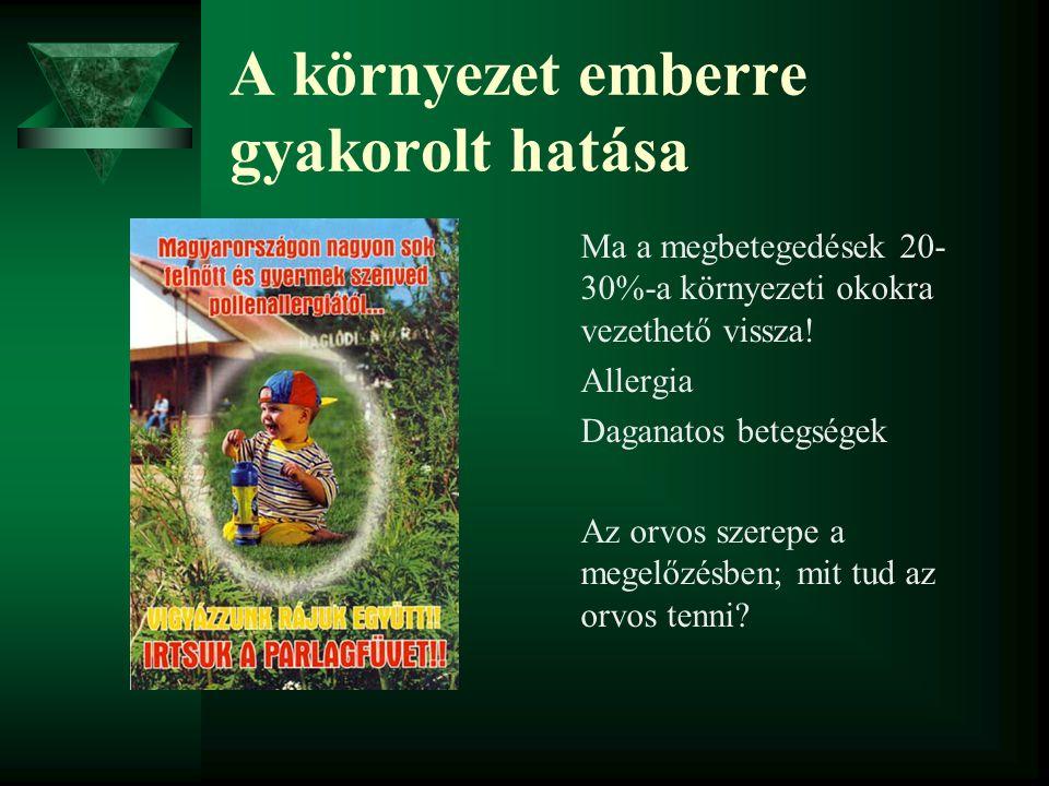 A környezet emberre gyakorolt hatása Ma a megbetegedések 20- 30%-a környezeti okokra vezethető vissza! Allergia Daganatos betegségek Az orvos szerepe