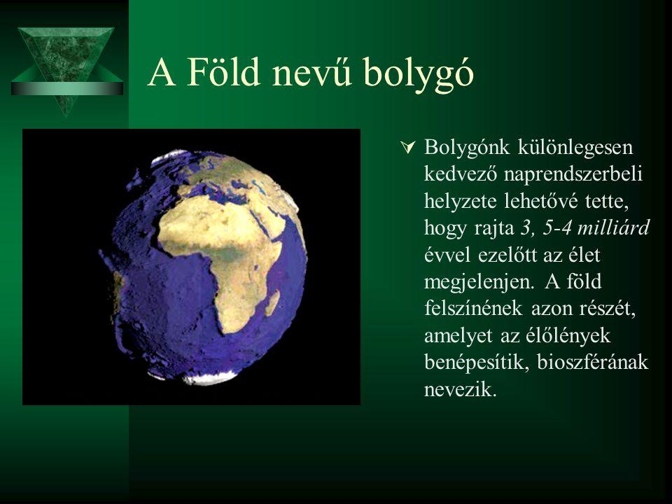 A Föld nevű bolygó  Bolygónk különlegesen kedvező naprendszerbeli helyzete lehetővé tette, hogy rajta 3, 5-4 milliárd évvel ezelőtt az élet megjelenj