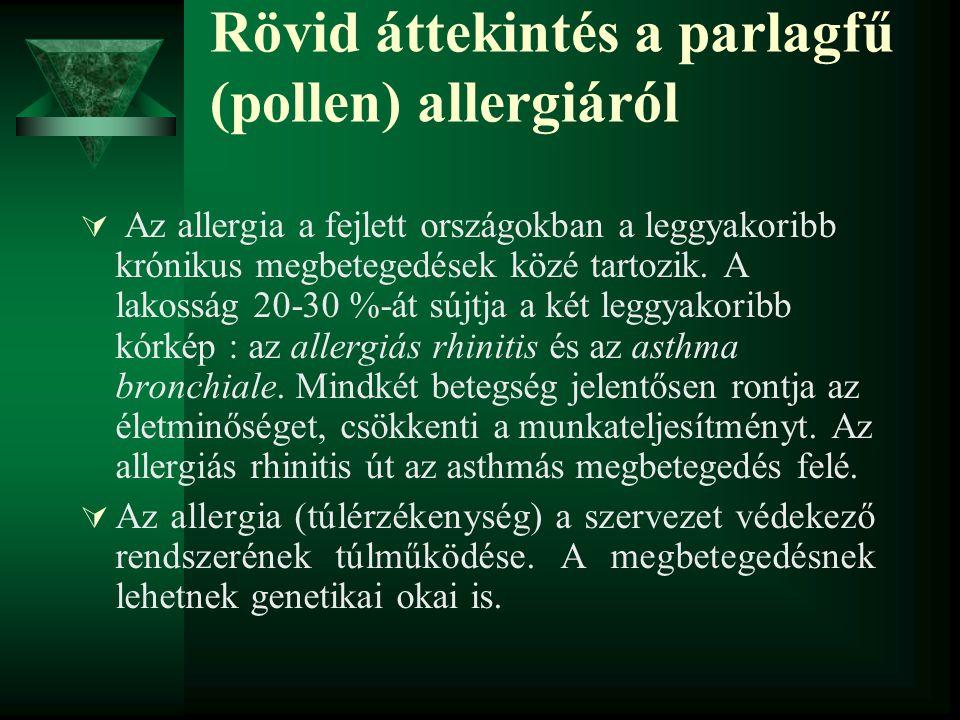 Rövid áttekintés a parlagfű (pollen) allergiáról  Az allergia a fejlett országokban a leggyakoribb krónikus megbetegedések közé tartozik. A lakosság
