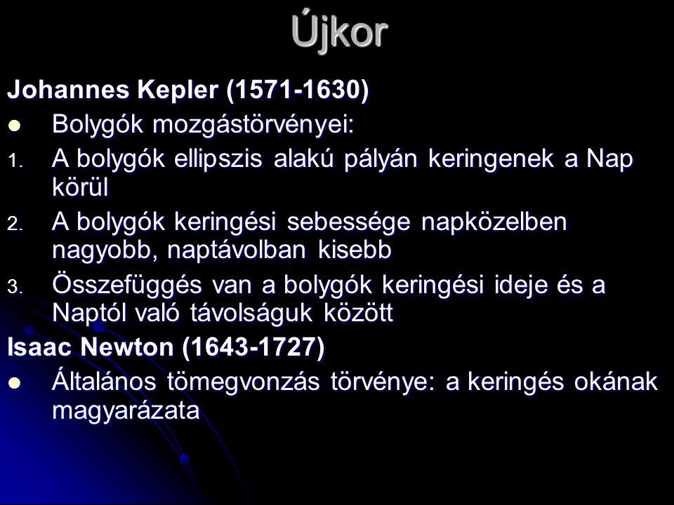Újkor Johannes Kepler (1571-1630)  Bolygók mozgástörvényei: 1. A bolygók ellipszis alakú pályán keringenek a Nap körül 2. A bolygók keringési sebessé