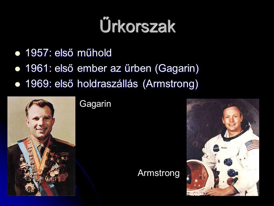 Űrkorszak  1957: első műhold  1961: első ember az űrben (Gagarin)  1969: első holdraszállás (Armstrong) Gagarin Armstrong