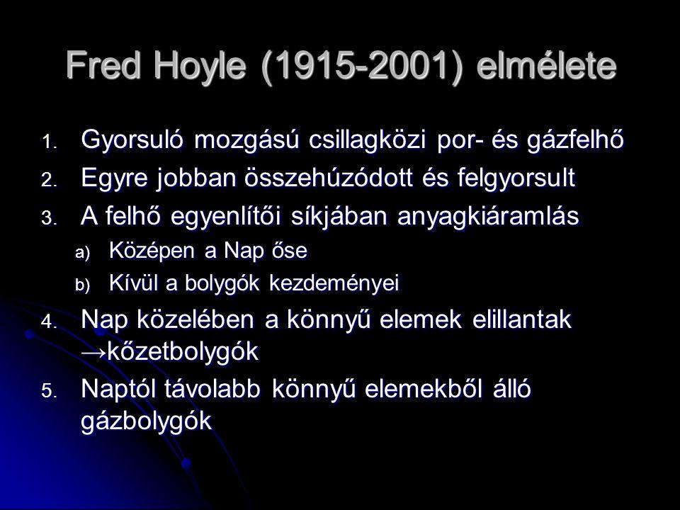 Fred Hoyle (1915-2001) elmélete 1. Gyorsuló mozgású csillagközi por- és gázfelhő 2. Egyre jobban összehúzódott és felgyorsult 3. A felhő egyenlítői sí