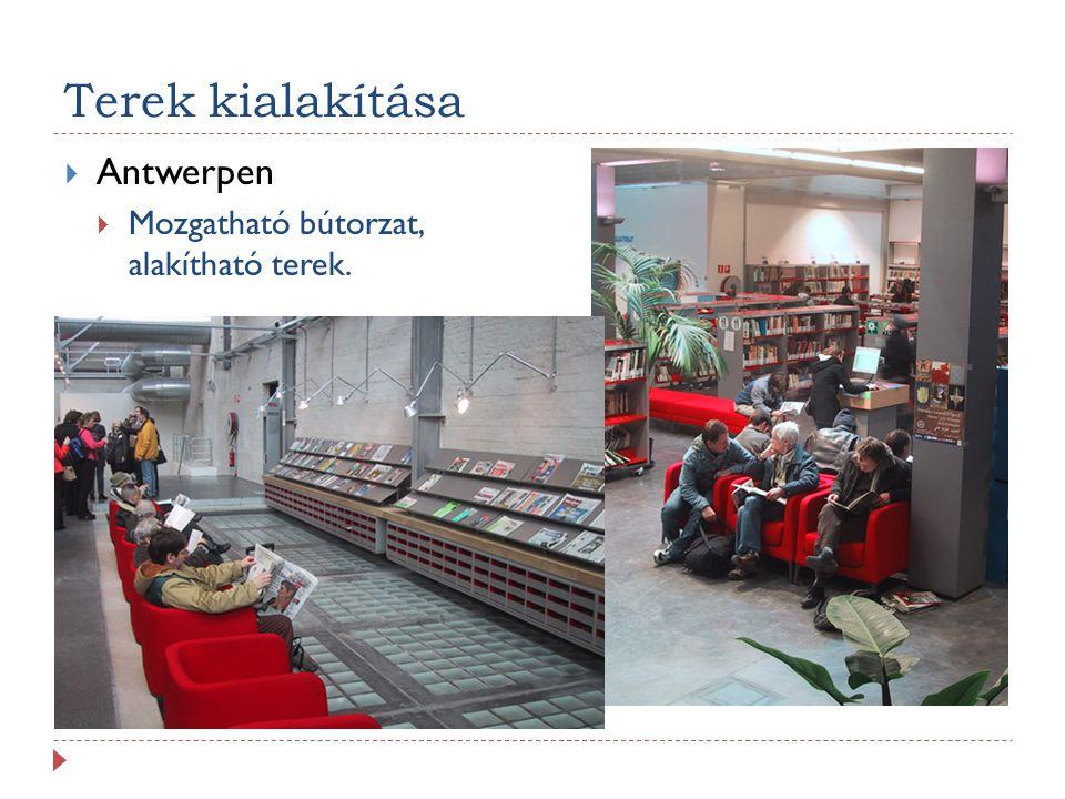Terek kialakítása  Antwerpen  Mozgatható bútorzat, alakítható terek.