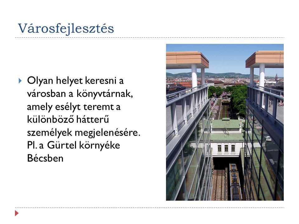 Városfejlesztés  Olyan helyet keresni a városban a könyvtárnak, amely esélyt teremt a különböző hátterű személyek megjelenésére. Pl. a Gürtel környék
