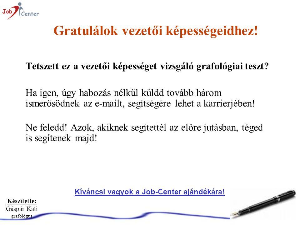 Készítette: Gáspár Kati grafológus Gratulálok vezetői képességeidhez.