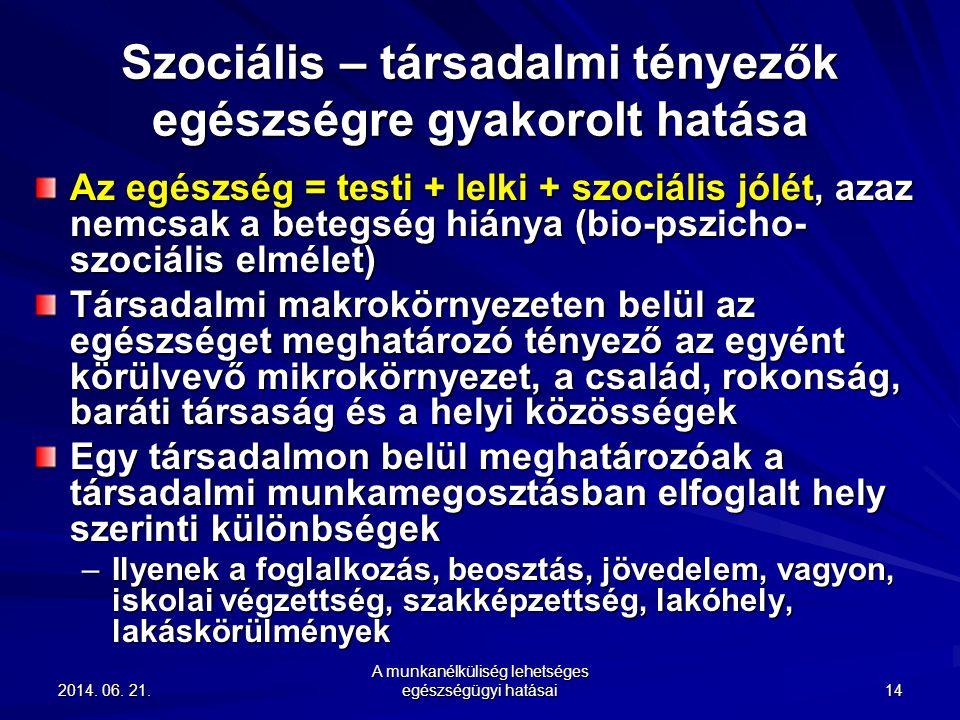 2014. 06. 21.2014. 06. 21.2014. 06. 21. A munkanélküliség lehetséges egészségügyi hatásai 14 Szociális – társadalmi tényezők egészségre gyakorolt hatá