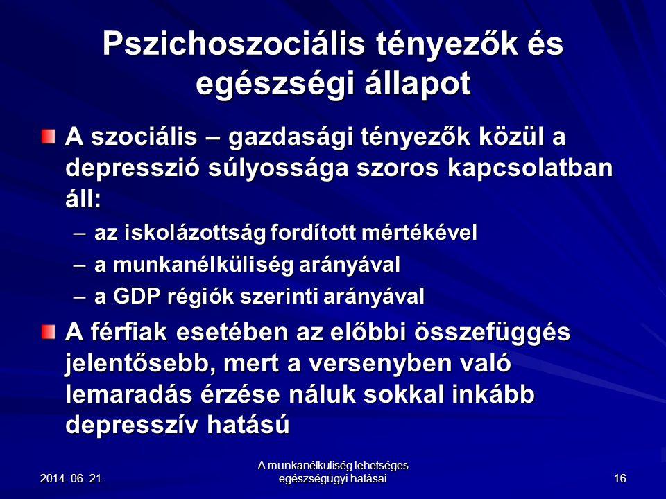 2014. 06. 21.2014. 06. 21.2014. 06. 21. A munkanélküliség lehetséges egészségügyi hatásai 16 Pszichoszociális tényezők és egészségi állapot A szociáli