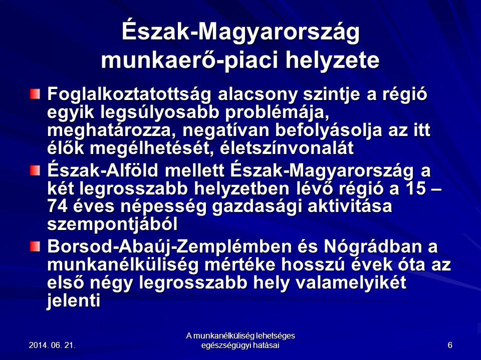 2014. 06. 21.2014. 06. 21.2014. 06. 21. A munkanélküliség lehetséges egészségügyi hatásai 6 Észak-Magyarország munkaerő-piaci helyzete Foglalkoztatott