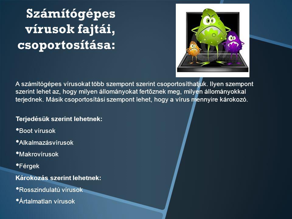 Számítógépes vírusok fajtái, csoportosítása: A számítógépes vírusokat több szempont szerint csoportosíthatjuk. Ilyen szempont szerint lehet az, hogy m