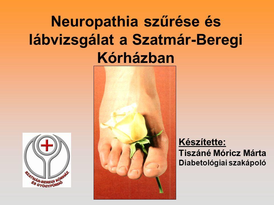 Neuropathia szűrése és lábvizsgálat a Szatmár-Beregi Kórházban Készítette: Tiszáné Móricz Márta Diabetológiai szakápoló