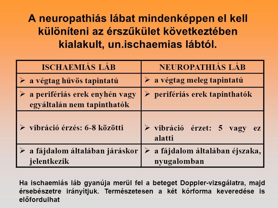 A neuropathiás lábat mindenképpen el kell különíteni az érszűkület következtében kialakult, un.ischaemias lábtól. ISCHAEMIÁS LÁB NEUROPATHIÁS LÁB  a