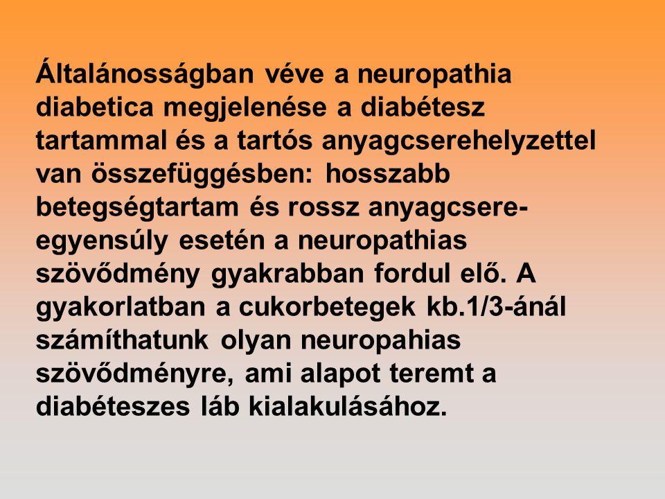 Általánosságban véve a neuropathia diabetica megjelenése a diabétesz tartammal és a tartós anyagcserehelyzettel van összefüggésben: hosszabb betegségt