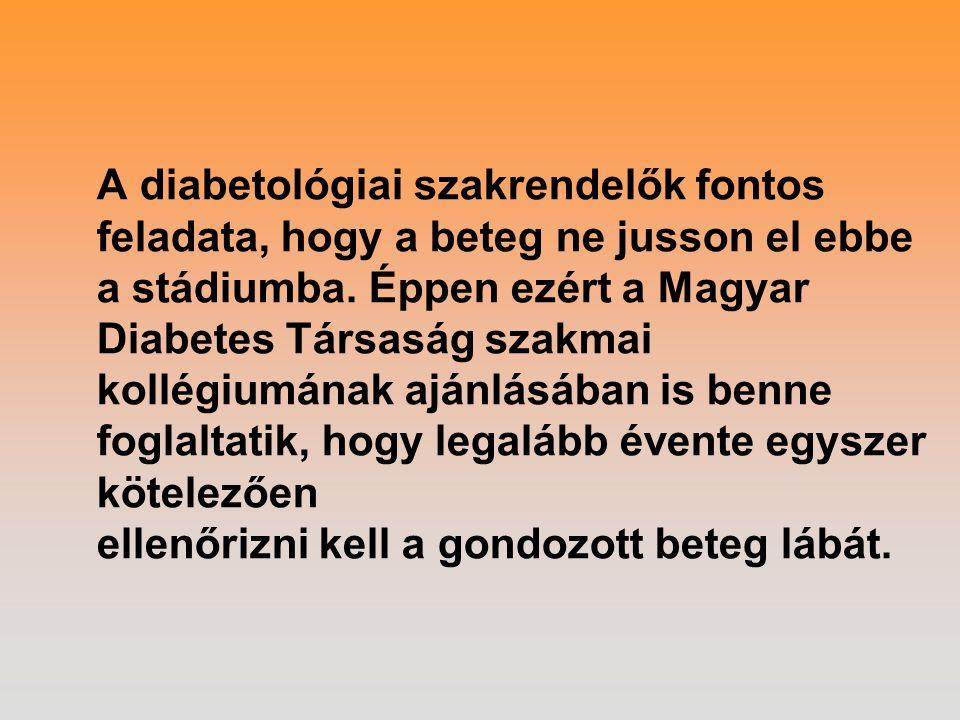 A diabetológiai szakrendelők fontos feladata, hogy a beteg ne jusson el ebbe a stádiumba. Éppen ezért a Magyar Diabetes Társaság szakmai kollégiumának