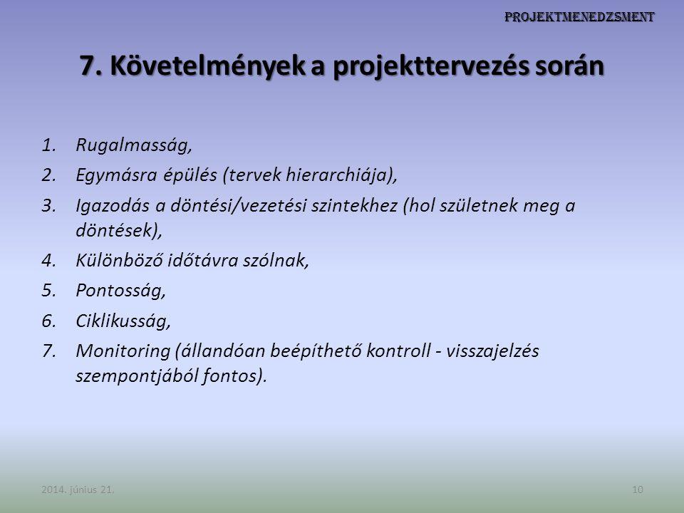 Projektmenedzsment 7. Követelmények a projekttervezés során 1.Rugalmasság, 2.Egymásra épülés (tervek hierarchiája), 3.Igazodás a döntési/vezetési szin