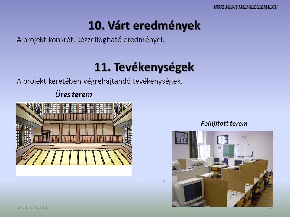 Projektmenedzsment 10. Várt eredmények A projekt konkrét, kézzelfogható eredményei. 11. Tevékenységek A projekt keretében végrehajtandó tevékenységek.