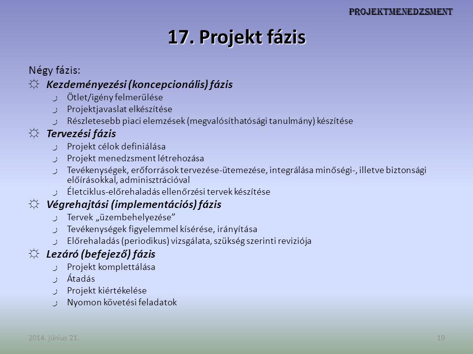 Projektmenedzsment 17. Projekt fázis Négy fázis: ☼ Kezdeményezési (koncepcionális) fázis ر Ötlet/igény felmerülése ر Projektjavaslat elkészítése ر Rés