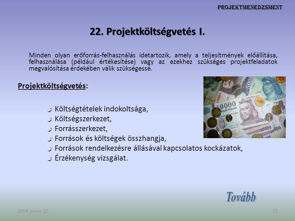 Projektmenedzsment 22. Projektköltségvetés I. Minden olyan erőforrás-felhasználás idetartozik, amely a teljesítmények előállítása, felhasználása (péld