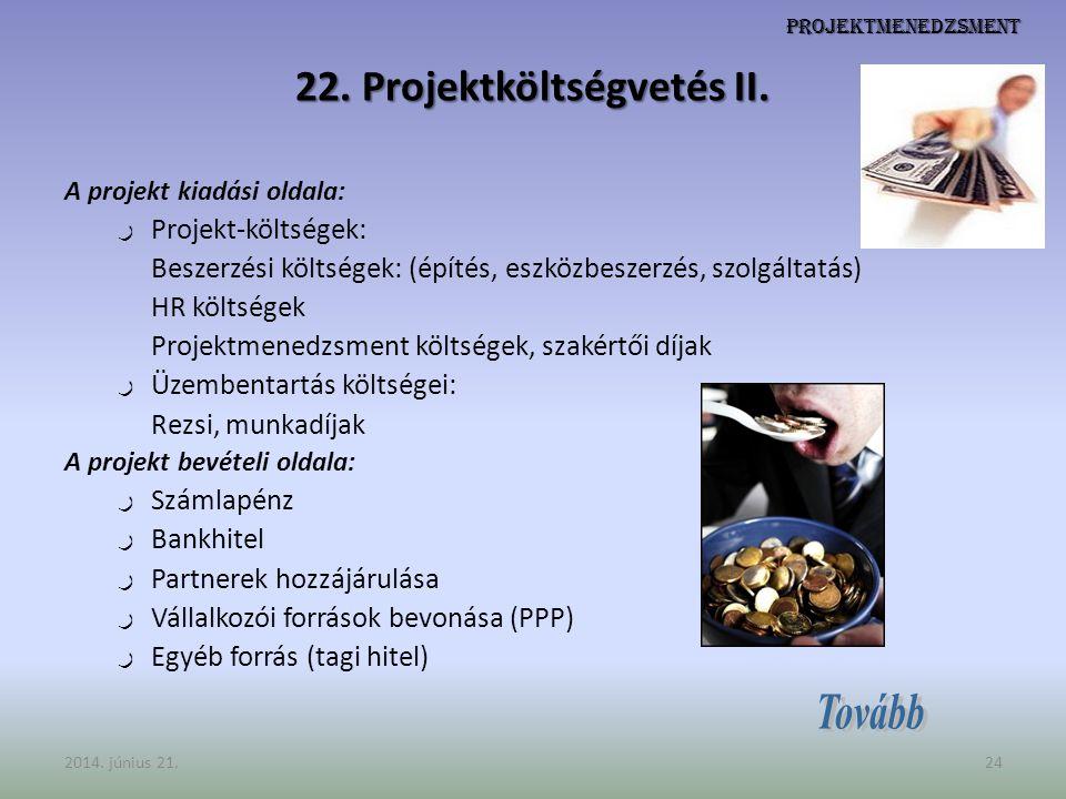 Projektmenedzsment 22. Projektköltségvetés II. A projekt kiadási oldala: ر Projekt-költségek: Beszerzési költségek: (építés, eszközbeszerzés, szolgált