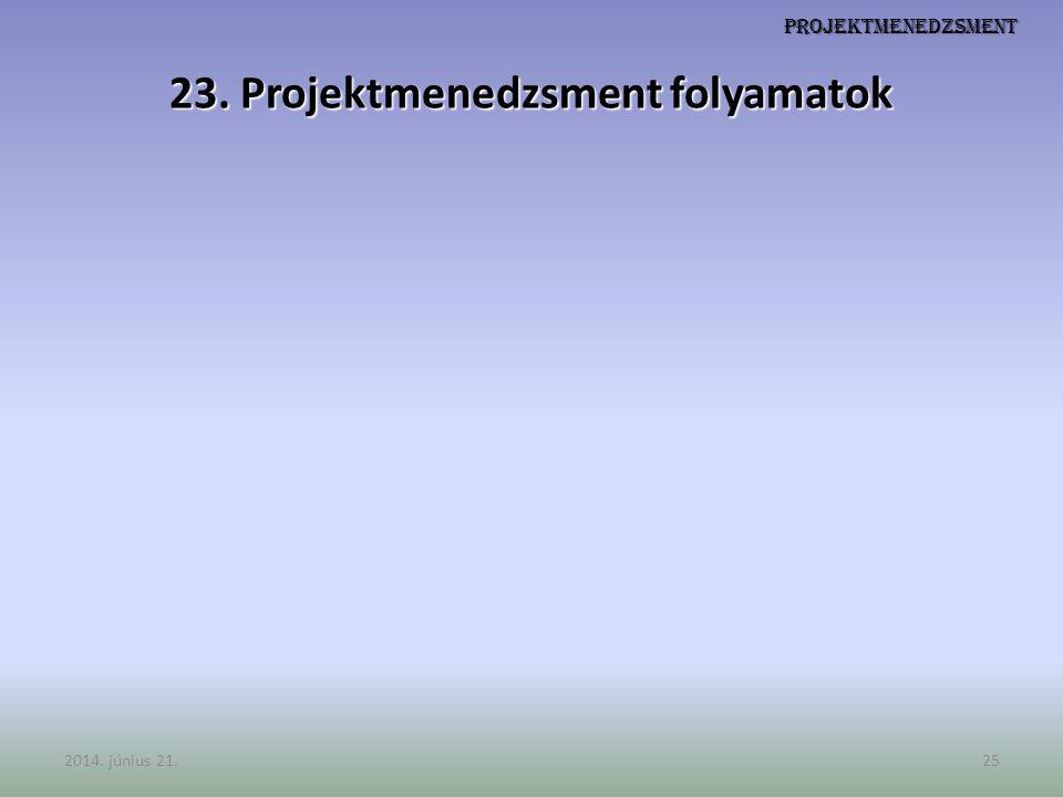 Projektmenedzsment 23. Projektmenedzsment folyamatok 2014. június 21.25