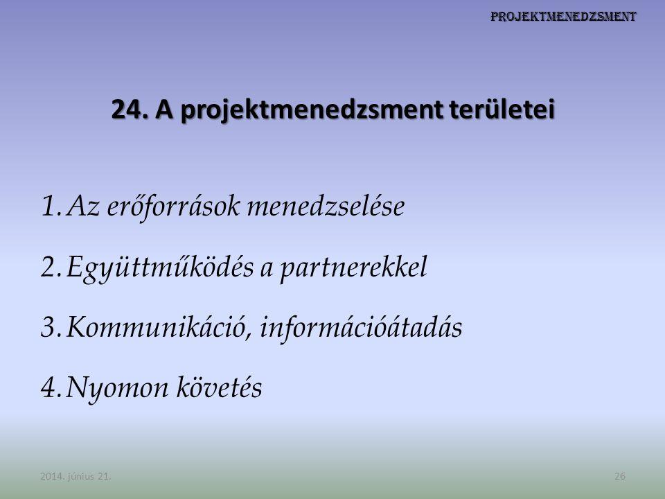 Projektmenedzsment 24. A projektmenedzsment területei 1.Az erőforrások menedzselése 2.Együttműködés a partnerekkel 3.Kommunikáció, információátadás 4.