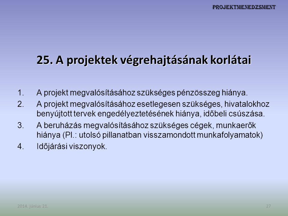 Projektmenedzsment 25. A projektek végrehajtásának korlátai 1.A projekt megvalósításához szükséges pénzösszeg hiánya. 2.A projekt megvalósításához ese