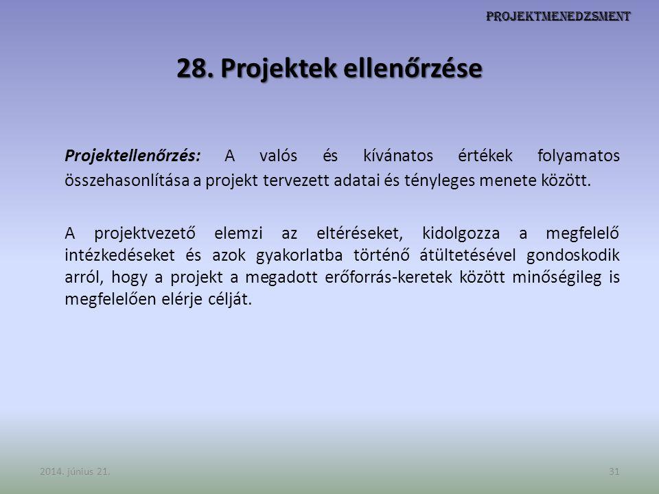 Projektmenedzsment 28. Projektek ellenőrzése Projektellenőrzés: A valós és kívánatos értékek folyamatos összehasonlítása a projekt tervezett adatai és