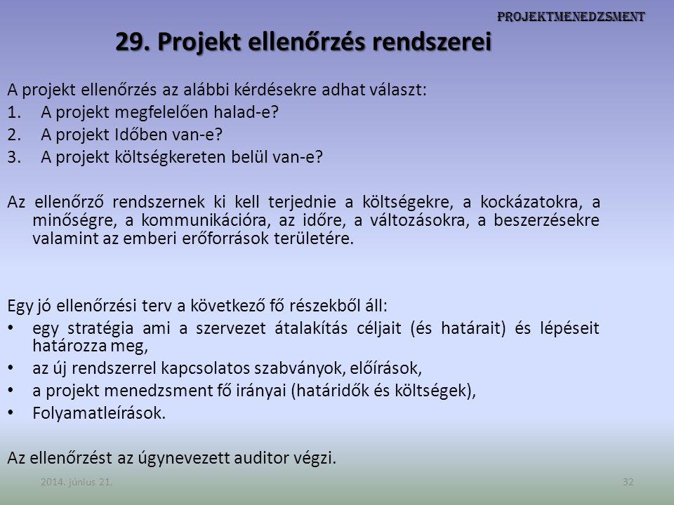 Projektmenedzsment 29. Projekt ellenőrzés rendszerei A projekt ellenőrzés az alábbi kérdésekre adhat választ: 1.A projekt megfelelően halad-e? 2.A pro