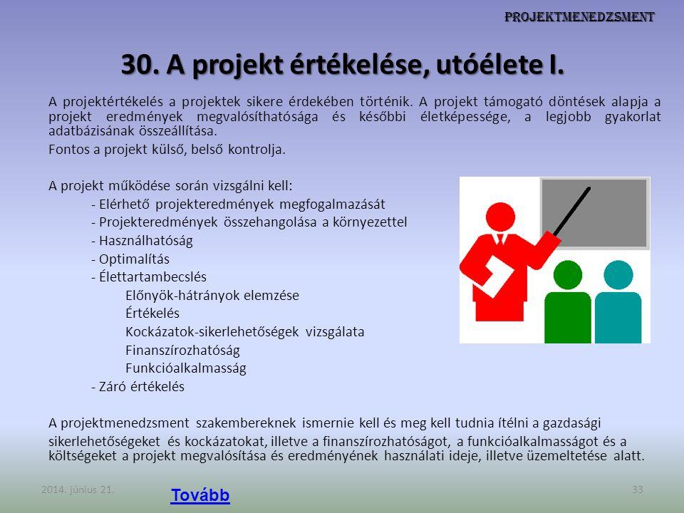 Projektmenedzsment 30. A projekt értékelése, utóélete I. A projektértékelés a projektek sikere érdekében történik. A projekt támogató döntések alapja
