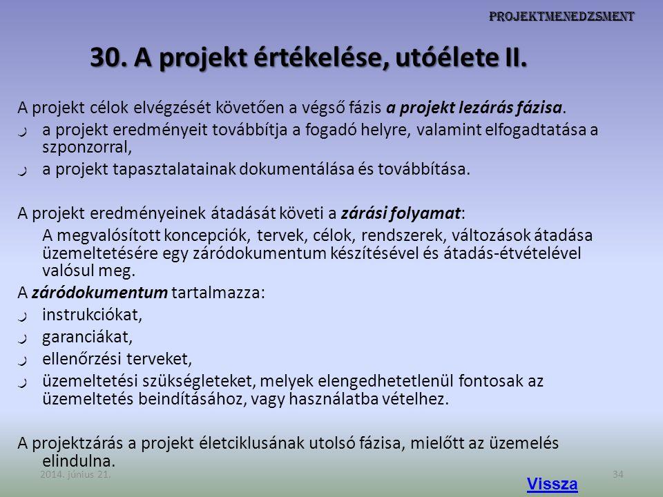 Projektmenedzsment 30. A projekt értékelése, utóélete II. A projekt célok elvégzését követően a végső fázis a projekt lezárás fázisa. ر a projekt ered
