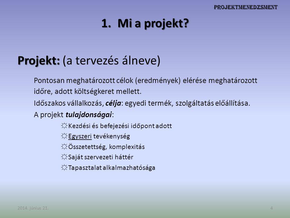 Projektmenedzsment 1.Mi a projekt? Projekt: Projekt: (a tervezés álneve) Pontosan meghatározott célok (eredmények) elérése meghatározott időre, adott
