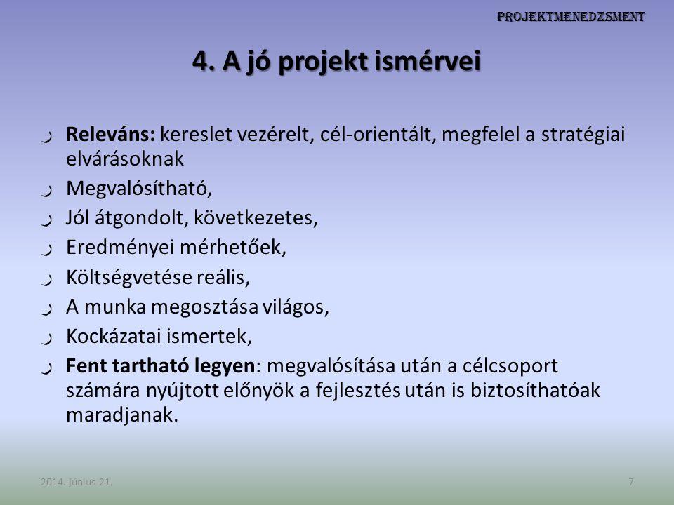 Projektmenedzsment 4. A jó projekt ismérvei ر Releváns: kereslet vezérelt, cél-orientált, megfelel a stratégiai elvárásoknak ر Megvalósítható, ر Jól á