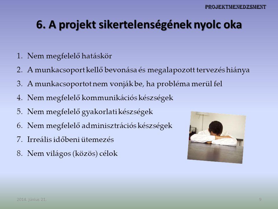 Projektmenedzsment 6. A projekt sikertelenségének nyolc oka 1.Nem megfelelő hatáskör 2.A munkacsoport kellő bevonása és megalapozott tervezés hiánya 3