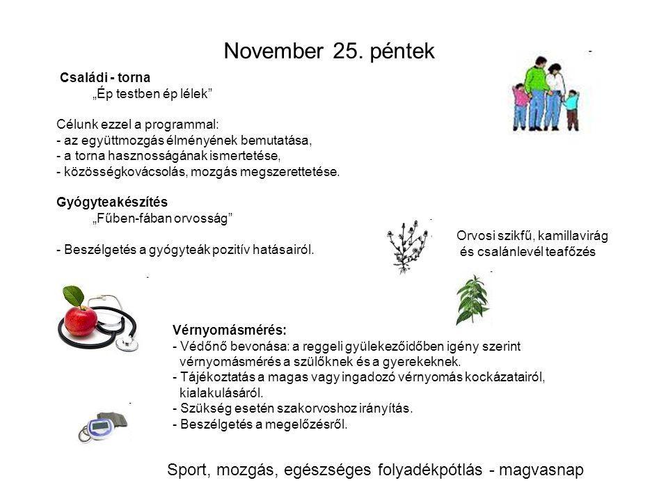 """November 25. péntek Családi - torna """"Ép testben ép lélek"""" Célunk ezzel a programmal: - az együttmozgás élményének bemutatása, - a torna hasznosságának"""