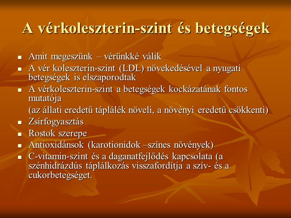 A vérkoleszterin-szint és betegségek  Amit megeszünk – vérünkké válik  A vér koleszterin-szint (LDL) növekedésével a nyugati betegségek is elszaporo