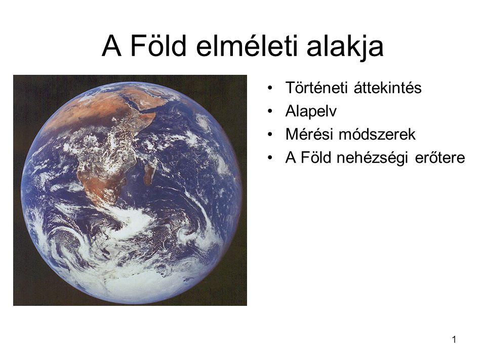 1 A Föld elméleti alakja •Történeti áttekintés •Alapelv •Mérési módszerek •A Föld nehézségi erőtere
