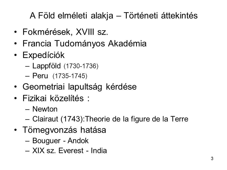 3 •Fokmérések, XVIII sz. •Francia Tudományos Akadémia •Expedíciók –Lappföld (1730-1736) –Peru (1735-1745) •Geometriai lapultság kérdése •Fizikai közel