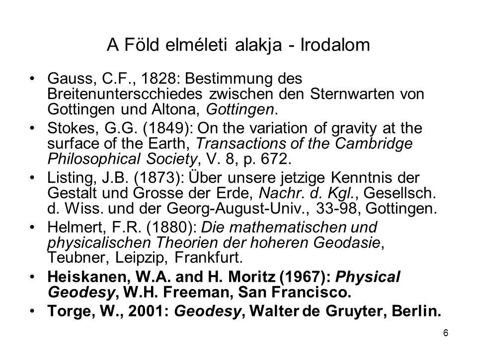 6 •Gauss, C.F., 1828: Bestimmung des Breitenunterscchiedes zwischen den Sternwarten von Gottingen und Altona, Gottingen. •Stokes, G.G. (1849): On the