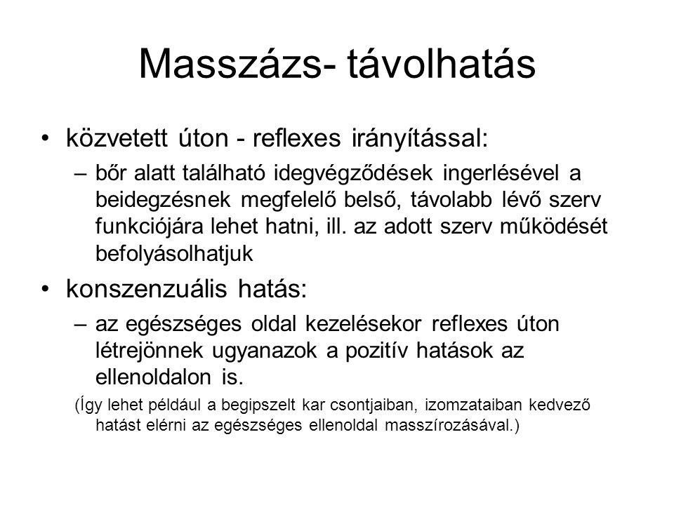 Masszázs- távolhatás •közvetett úton - reflexes irányítással: –bőr alatt található idegvégződések ingerlésével a beidegzésnek megfelelő belső, távolab