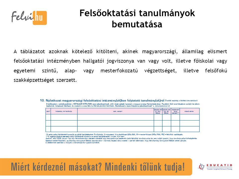 Felsőoktatási tanulmányok bemutatása A táblázatot azoknak kötelező kitölteni, akinek magyarországi, államilag elismert felsőoktatási intézményben hallgatói jogviszonya van vagy volt, illetve főiskolai vagy egyetemi szintű, alap- vagy mesterfokozatú végzettséget, illetve felsőfokú szakképzettséget szerzett.