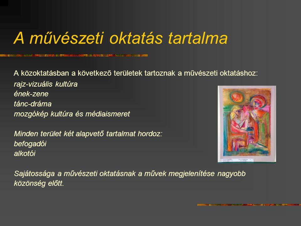 A művészeti oktatás tartalma A közoktatásban a következő területek tartoznak a művészeti oktatáshoz: rajz-vizuális kultúra ének-zene tánc-dráma mozgók
