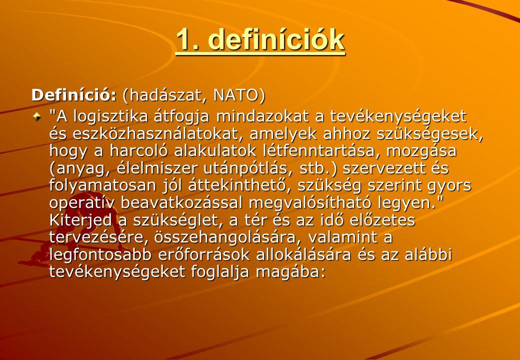 1. definíciók Definíció: (hadászat, NATO)