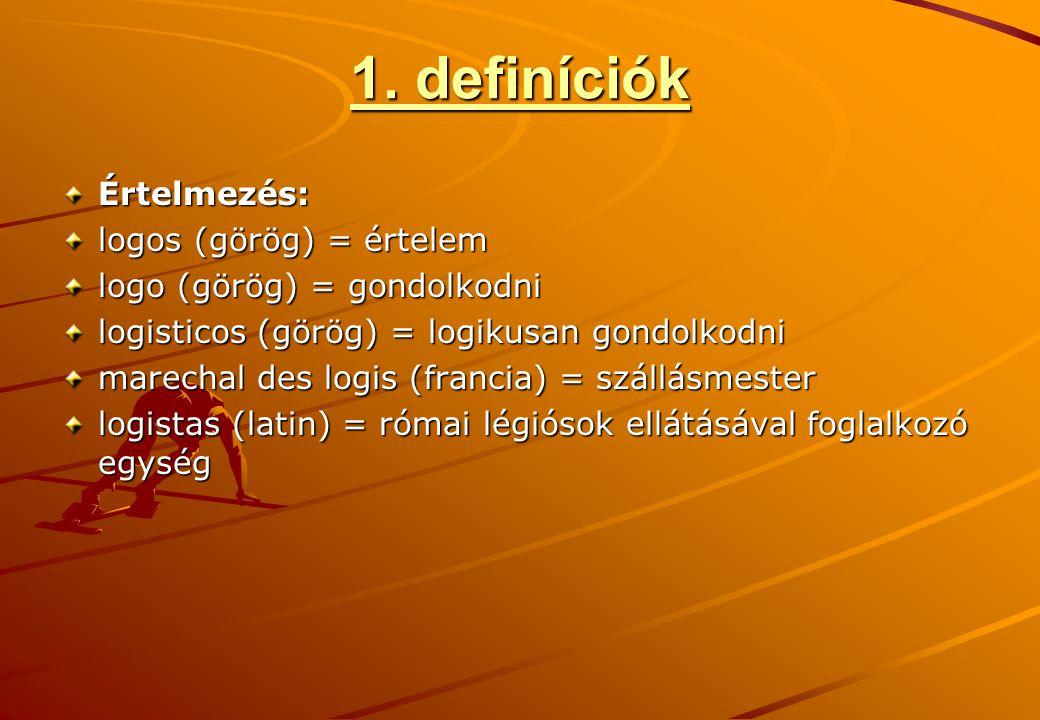1. definíciók Értelmezés: logos (görög) = értelem logo (görög) = gondolkodni logisticos (görög) = logikusan gondolkodni marechal des logis (francia) =