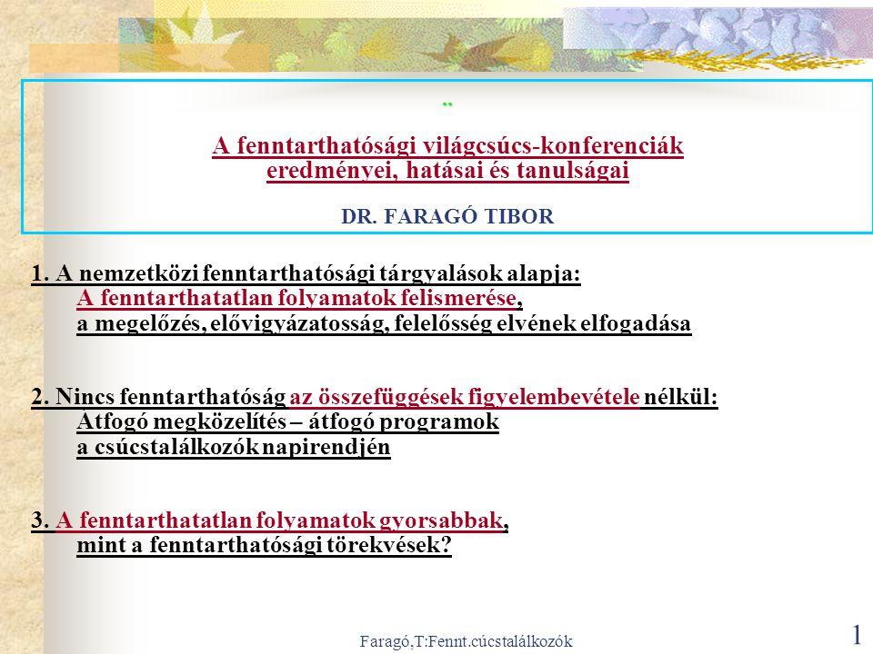 Faragó,T:Fennt.cúcstalálkozók 12 A fenntarthatatlan folyamatok gyorsabbak, mint a fenntarthatósági törekvések.