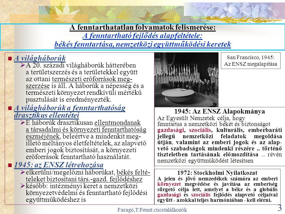 Faragó,T:Fennt.cúcstalálkozók 3 A fenntarthatatlan folyamatok felismerése: A fenntartható fejlődés alapfeltétele: békés fenntartása, nemzetközi együttműködési keretek  A világháborúk  A 20.