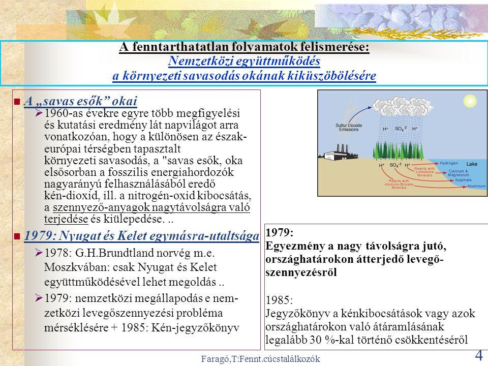 """Faragó,T:Fennt.cúcstalálkozók 4 A fenntarthatatlan folyamatok felismerése: Nemzetközi együttműködés a környezeti savasodás okának kiküszöbölésére  A """"savas esők okai  1960-as évekre egyre több megfigyelési és kutatási eredmény lát napvilágot arra vonatkozóan, hogy a különösen az észak- európai térségben tapasztalt környezeti savasodás, a savas esők, oka elsősorban a fosszilis energiahordozók nagyarányú felhasználásából eredő kén-dioxid, ill."""