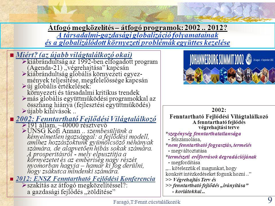 Faragó,T:Fennt.cúcstalálkozók 9 Átfogó megközelítés – átfogó programok: 2002..