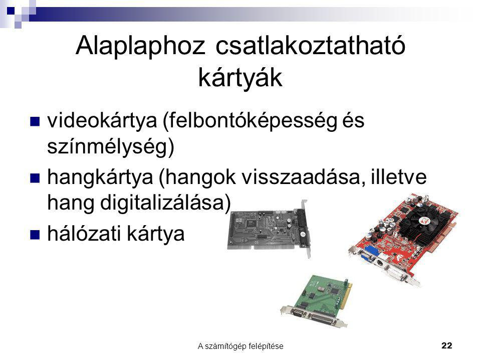 A számítógép felépítése22 Alaplaphoz csatlakoztatható kártyák  videokártya (felbontóképesség és színmélység)  hangkártya (hangok visszaadása, illetve hang digitalizálása)  hálózati kártya