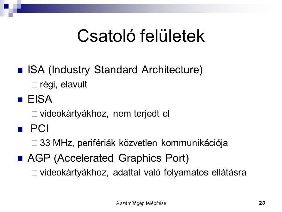 A számítógép felépítése23 Csatoló felületek  ISA (Industry Standard Architecture)  régi, elavult  EISA  videokártyákhoz, nem terjedt el  PCI  33 MHz, perifériák közvetlen kommunikációja  AGP (Accelerated Graphics Port)  videokártyákhoz, adattal való folyamatos ellátásra